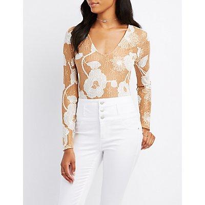 Two-Tone Floral Lace Bodysuit
