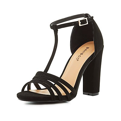 Bamboo T-Strap Block Heel Sandals