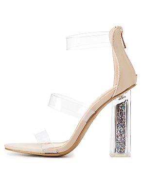 Bamboo Clear Three-Piece Glitter Heel Sandals