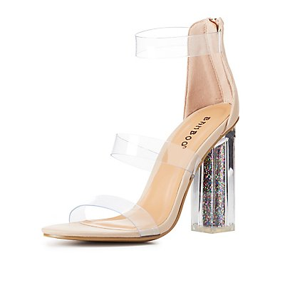 Bamboo Clear Three-Piece Glitter Heel Sandals