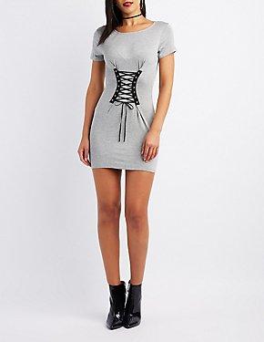 Corset-Detail T-Shirt Dress