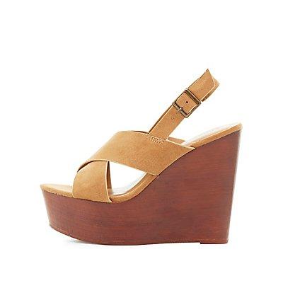 Bamboo Slingback Wedge Sandals