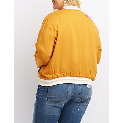 Plus Size Floral Embroidered Bomber Jacket