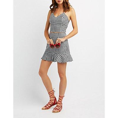 Gingham Ruffle-Trim Skirt
