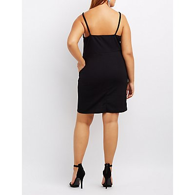 Plus Size Notched Tulip Bodycon Dress