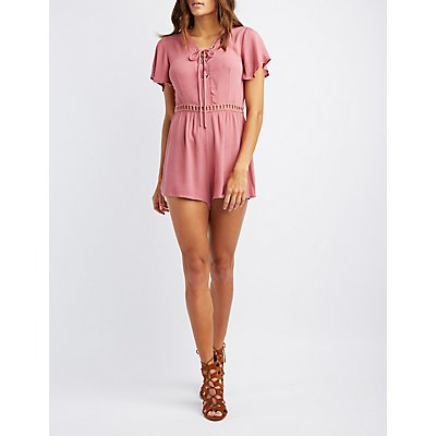 Crochet-Inset Lace-Up Romper