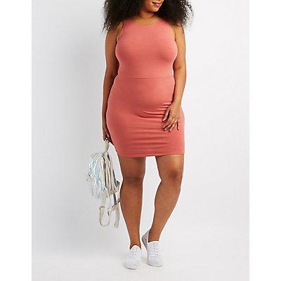 Plus Size Scoop Neck Bodycon Dress