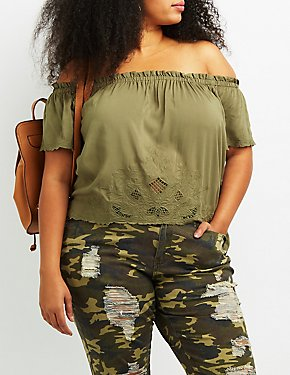 Plus Size Embroidered Off-The-Shoulder Top