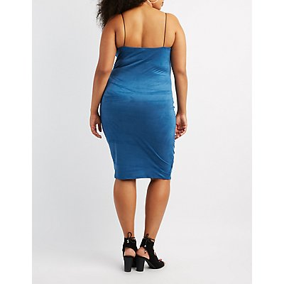 Plus Size Faux Suede Midi Slip Dress