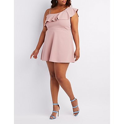 Plus Size One-Shoulder Ruffle Skater Dress