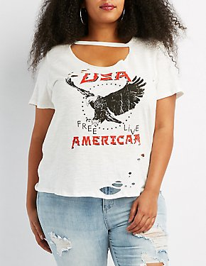 Plus Size Distressed Eagle Graphic Tee