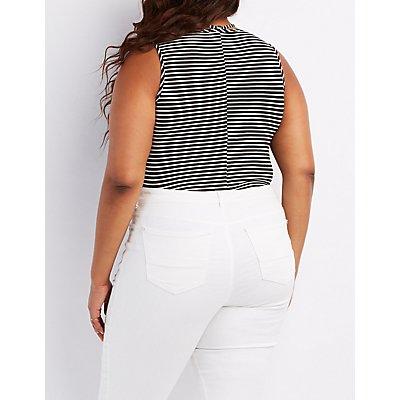 Plus Size Striped T-Strap Bodysuit