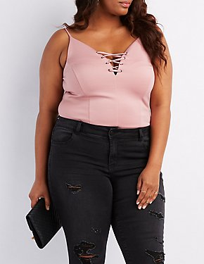 Plus Size Lace-Up Bodysuit