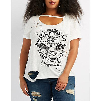 Plus Size Distressed Cut-Out Graphic Tee
