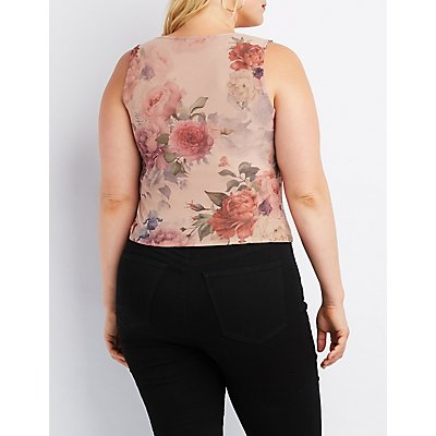 Plus Size Floral Mesh Tank Top
