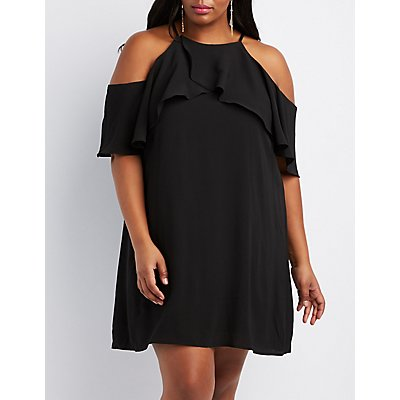 Plus Size Ruffle Cold Shoulder Shift Dress