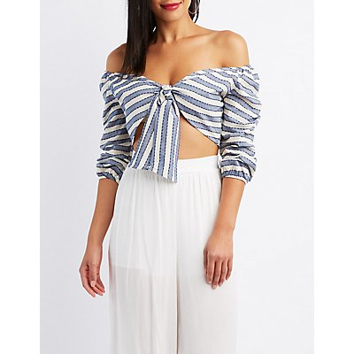 Striped Off-The-Shoulder Tied Crop Top