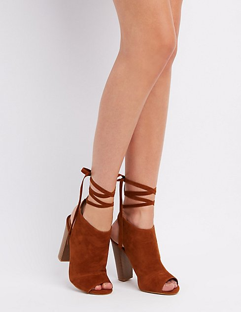 45dc83341174 Bamboo Peep Toe Lace-Up Booties ...