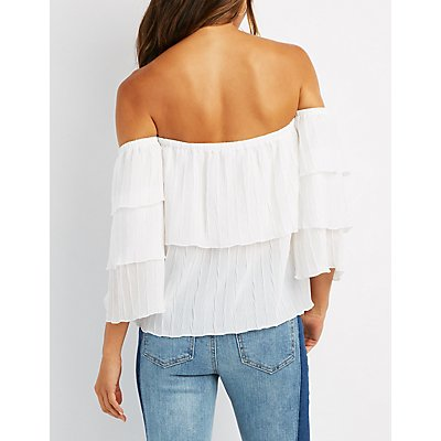 Tiered Bell Sleeve Off-The-Shoulder Top