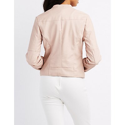 Faux Leather Quilted Moto Jacket