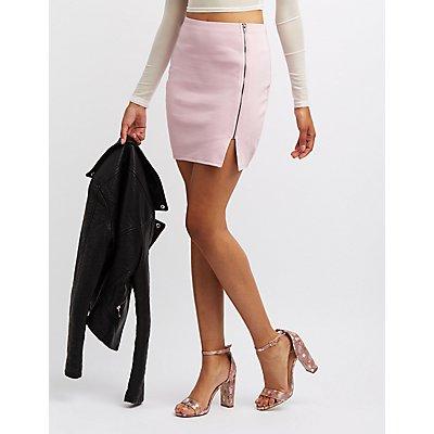 Zip-Front Bodycon Skirt