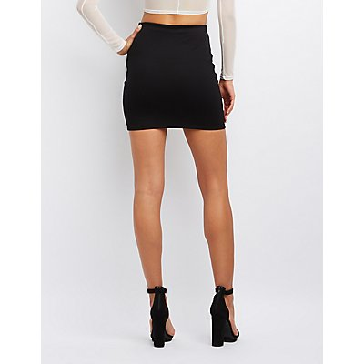 Zip-Up Bodycon Mini Skirt