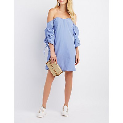 Striped Off-The-Shoulder Ruched Sleeve Dress