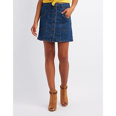 Denim Button-Up Skirt
