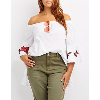 Plus Size Rose Embroidered Off-The-Shoulder Top