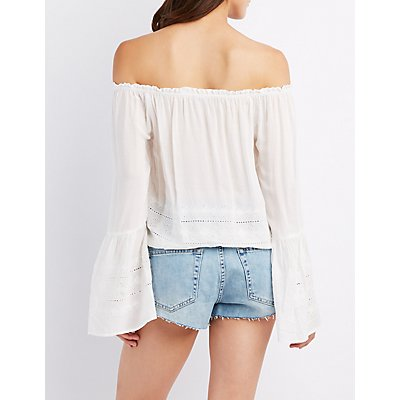 Embroidered Eyelet Off-The-Shoulder Top