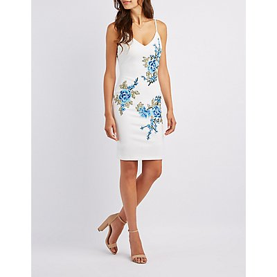 Floral Embroidered Bodycon Dress