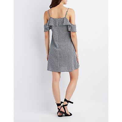 Gingham Cold Shoulder Button-Up Dress