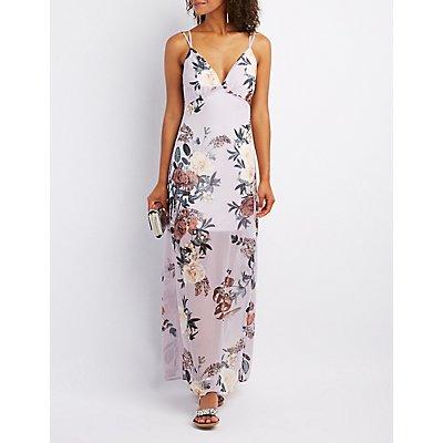 Floral Open-Back Maxi Dress