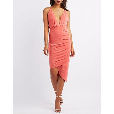Ruched Asymmetrical Bodycon Dress