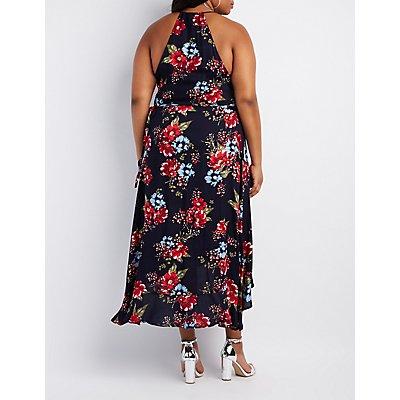 Plus Size Floral Ruffle-Trim Maxi Wrap Dress