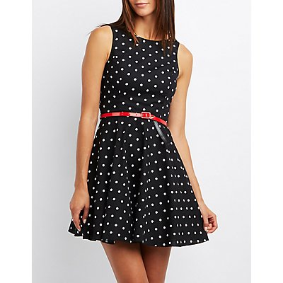 Polka Dot Belted Skater Dress