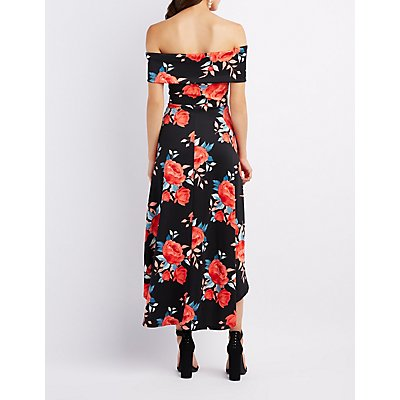 Floral Off-The-Shoulder High-Low Maxi Dress