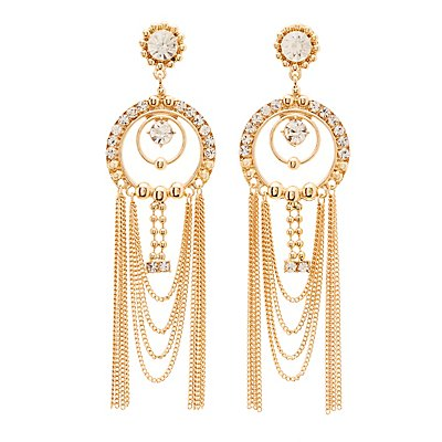 Embellished Fringe Chandelier Earrings