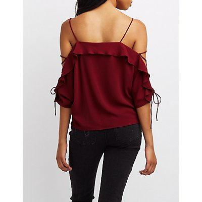 Lace-Up Sleeve Cold Shoulder Top