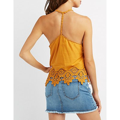 Crochet-Trim Racerback Tank Top