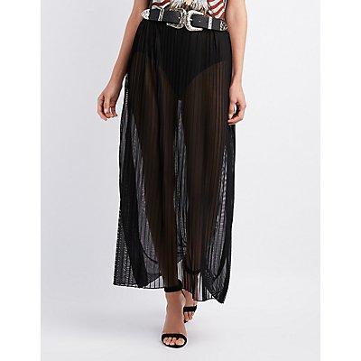 Sheer Pleated Mesh Skirt