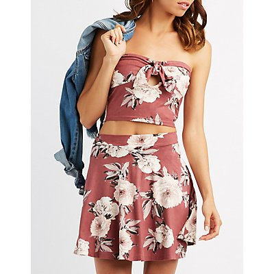 Floral Faux Suede Strapless Top