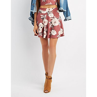 Floral Faux Suede Skater Skirt