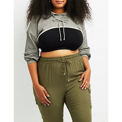 Plus Size Open Cropped Hoodie