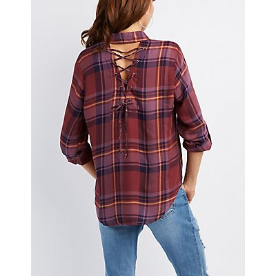 Lace-Up Back Button-Up Top