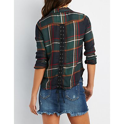 Plaid Lace-Up Back Button-Up Down Shirt