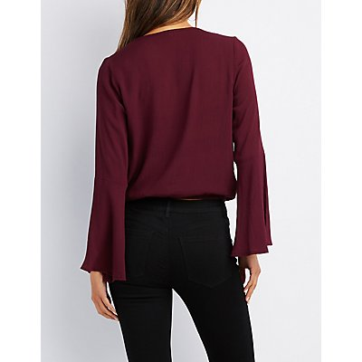 Surplice Bell Sleeve Crop Top