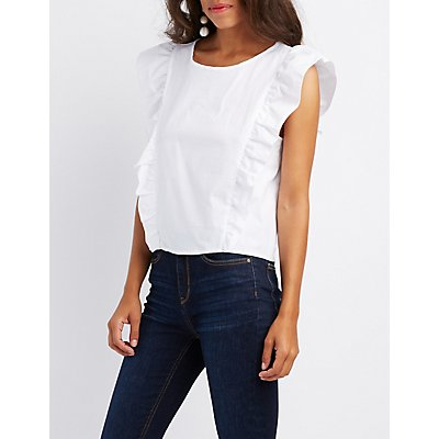 Ruffle-Trim Crop Top