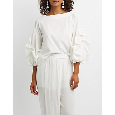 Ruched Sleeve Wide-Neck Top