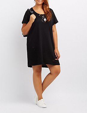 Plus Size Destroyed T-Shirt Dress